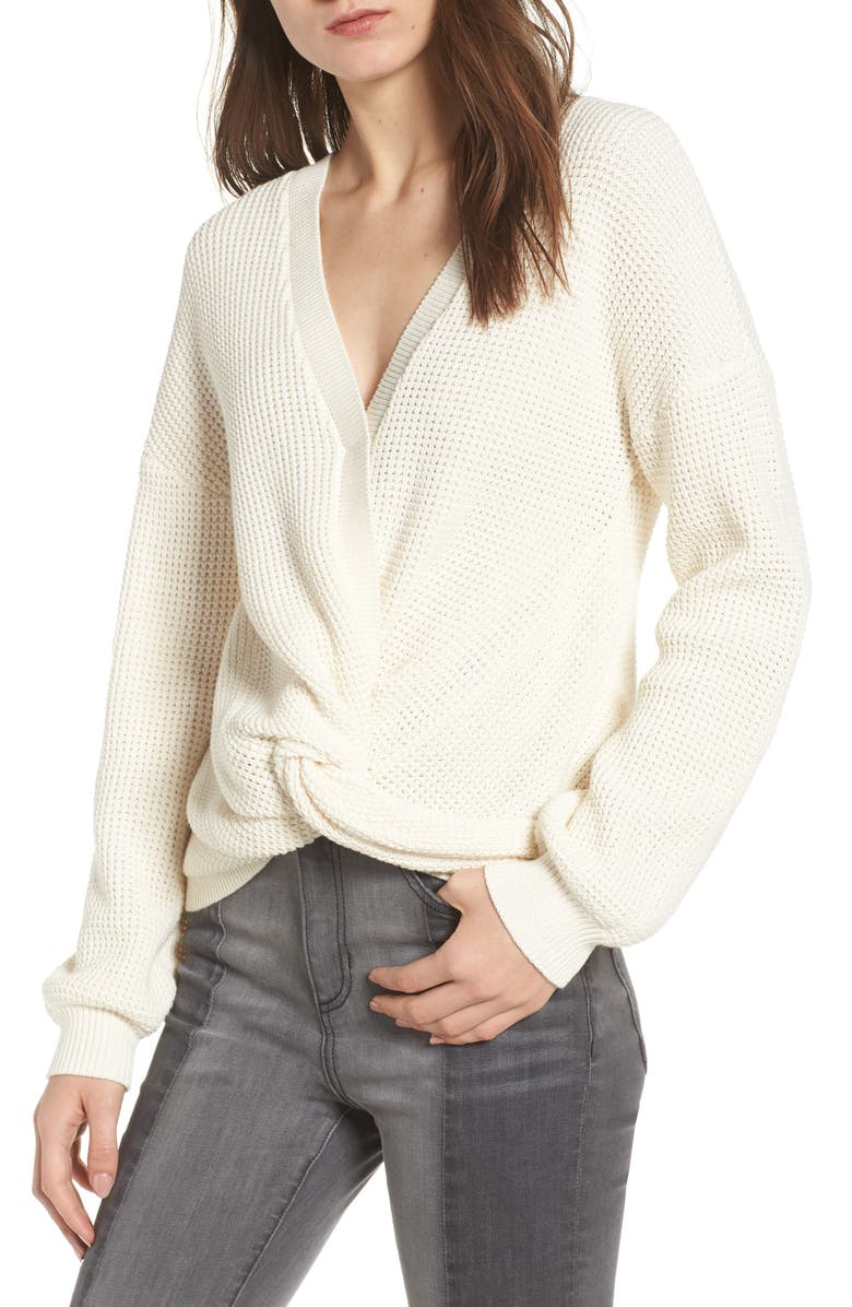 BP. Twist Front Sweater, Main, color, IVORY