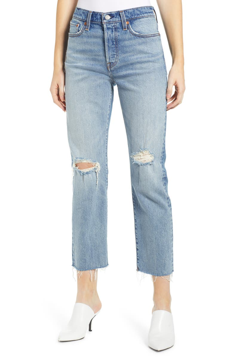 LEVI'S<SUP>®</SUP> Wedgie High Waist Ripped Crop Straight Leg Jeans, Main, color, 420