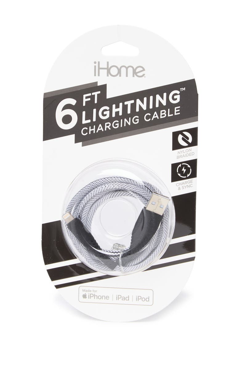 IHOME Black 6ft Sports Nylon Braided Lightening to USB Cable, Main, color, BLACK
