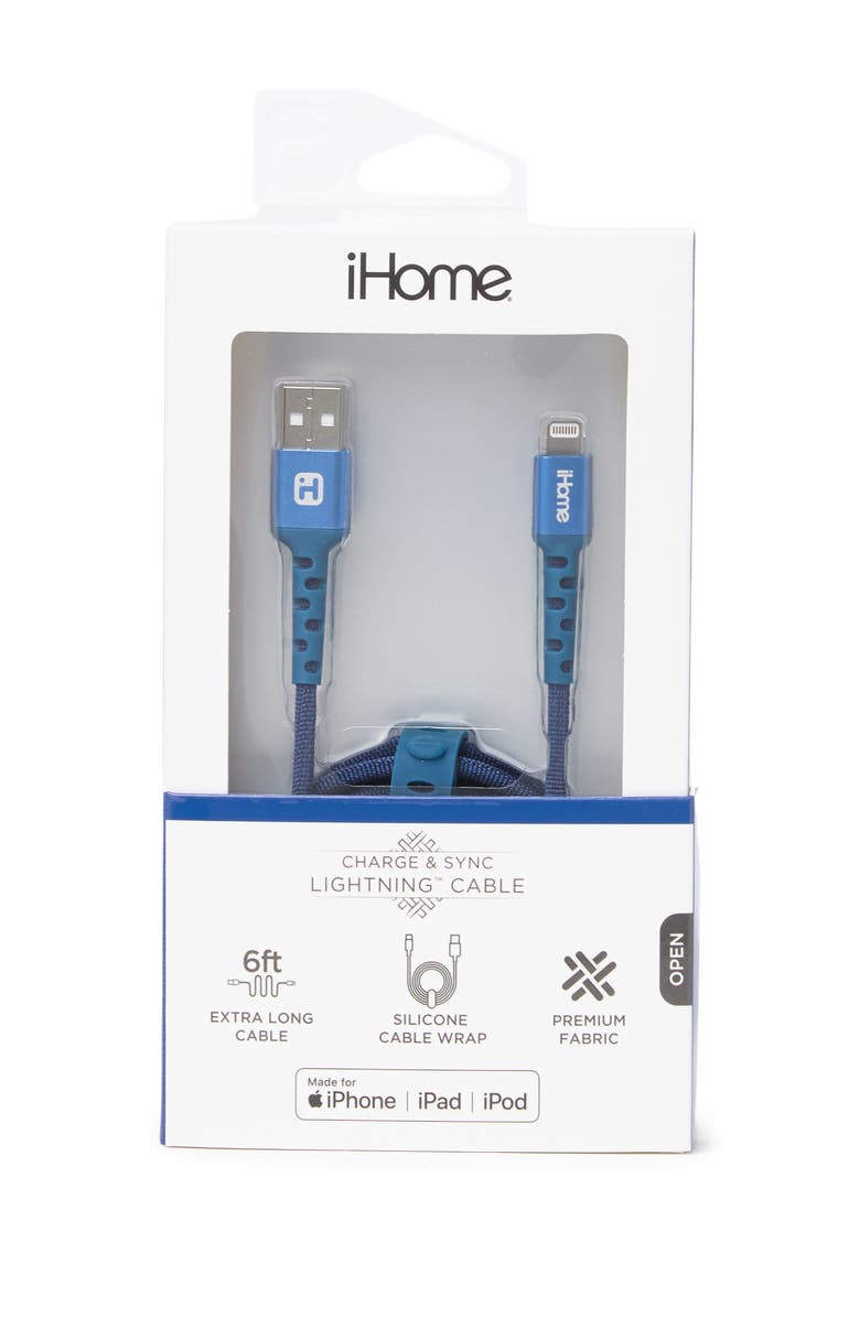 IHOME 6ft. Chambray Nylon Lightning Charge Cable - Navy, Main, color, NAVY