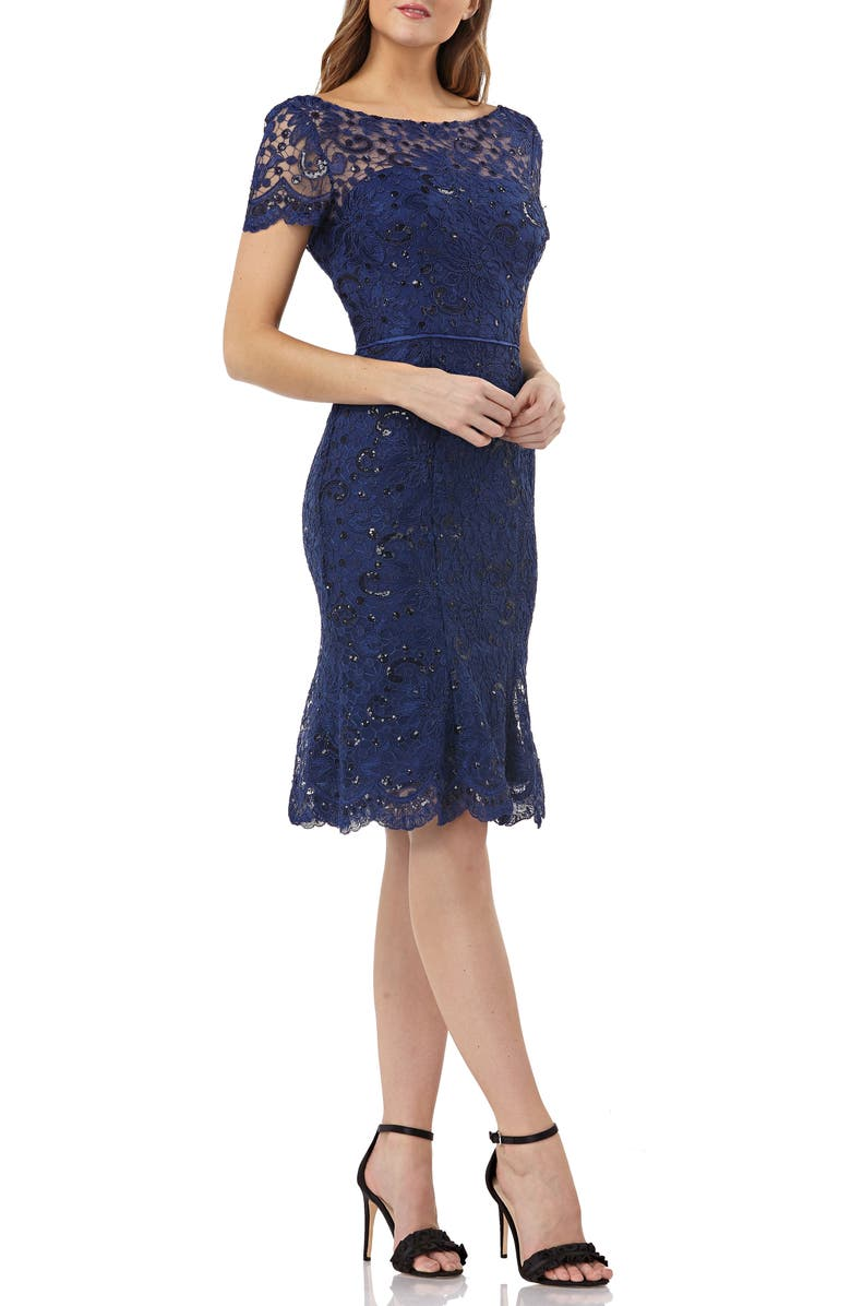 JS COLLECTIONS Sequin Corded Lace Cocktail Sheath, Main, color, 410
