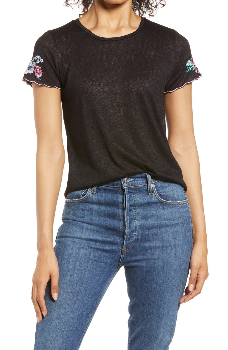 BOBEAU Embroidered Sleeve T-Shirt, Main, color, BLACK