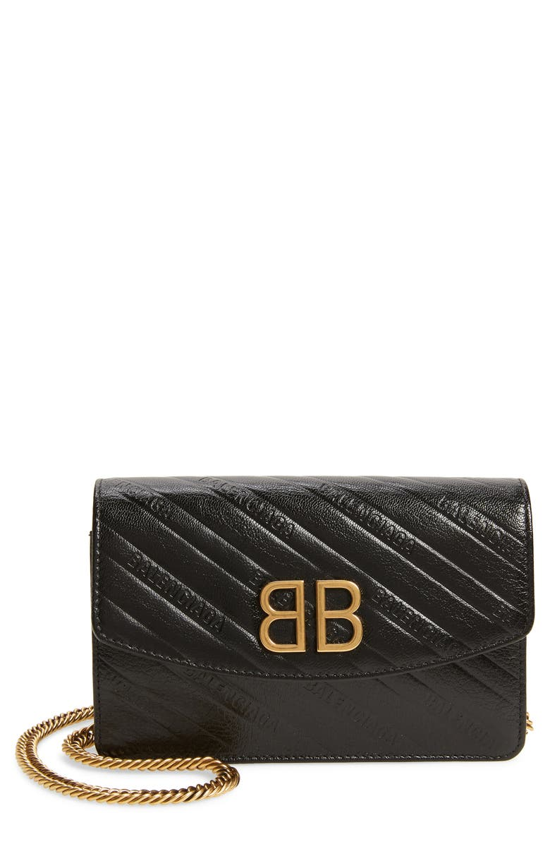 BALENCIAGA BB Leather Wallet on a Chain, Main, color, 001