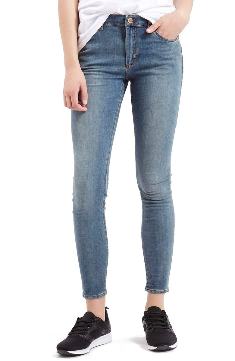 TOPSHOP Moto 'Leigh' Ankle Skinny Jeans, Main, color, 400