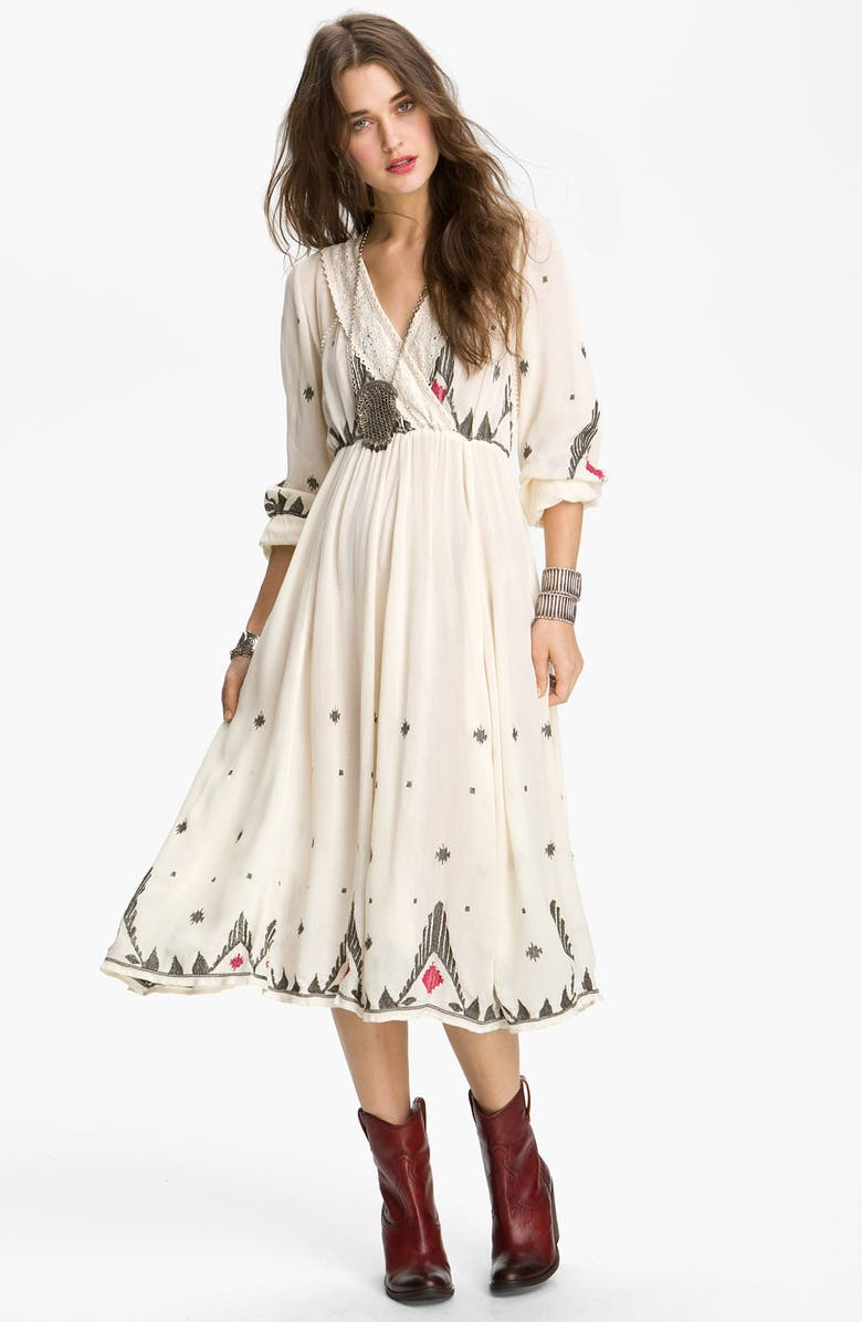 FREE PEOPLE 'Splendor' Embroidered Peasant Dress, Main, color, IVORY