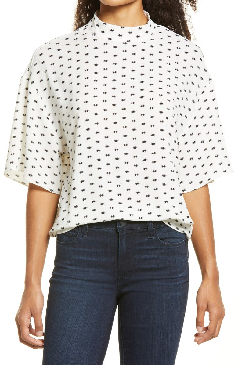 VINCE CAMUTO Print Georgette Blouse, Main, color, NEW IVORY