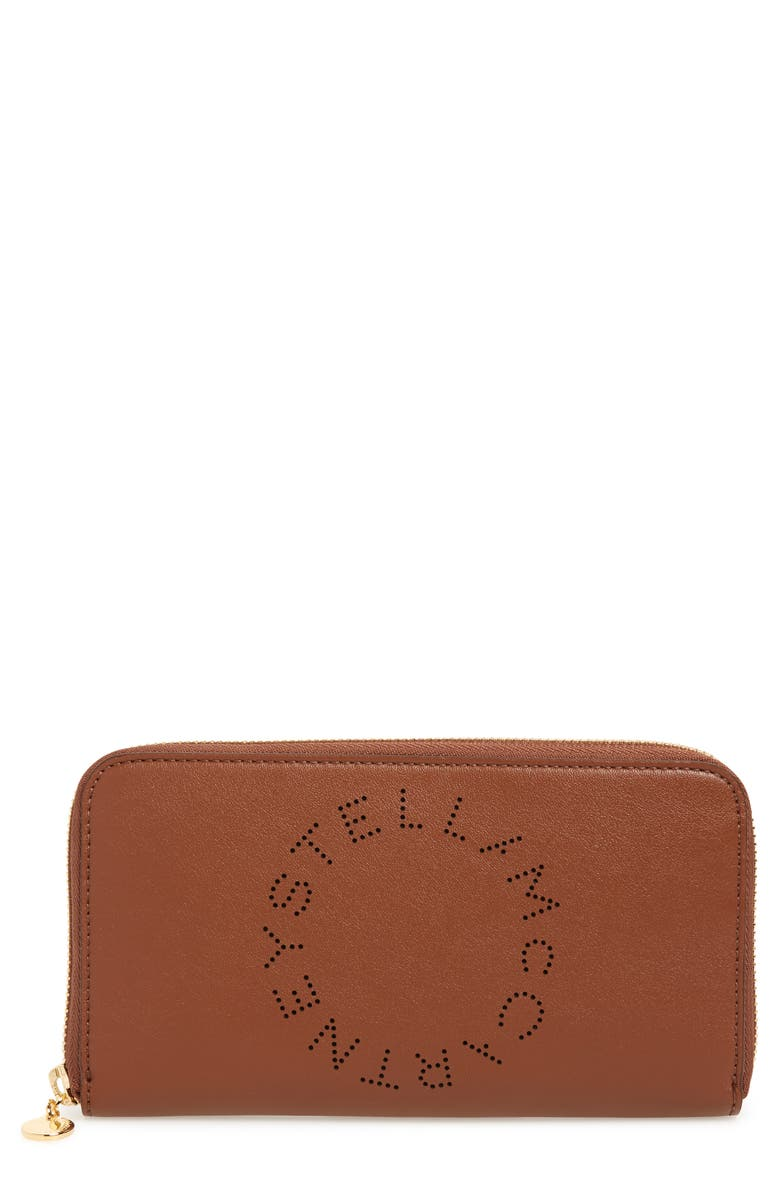 STELLA MCCARTNEY Alter Nappa Perforated Logo Faux Leather Wallet, Main, color, CINNAMON