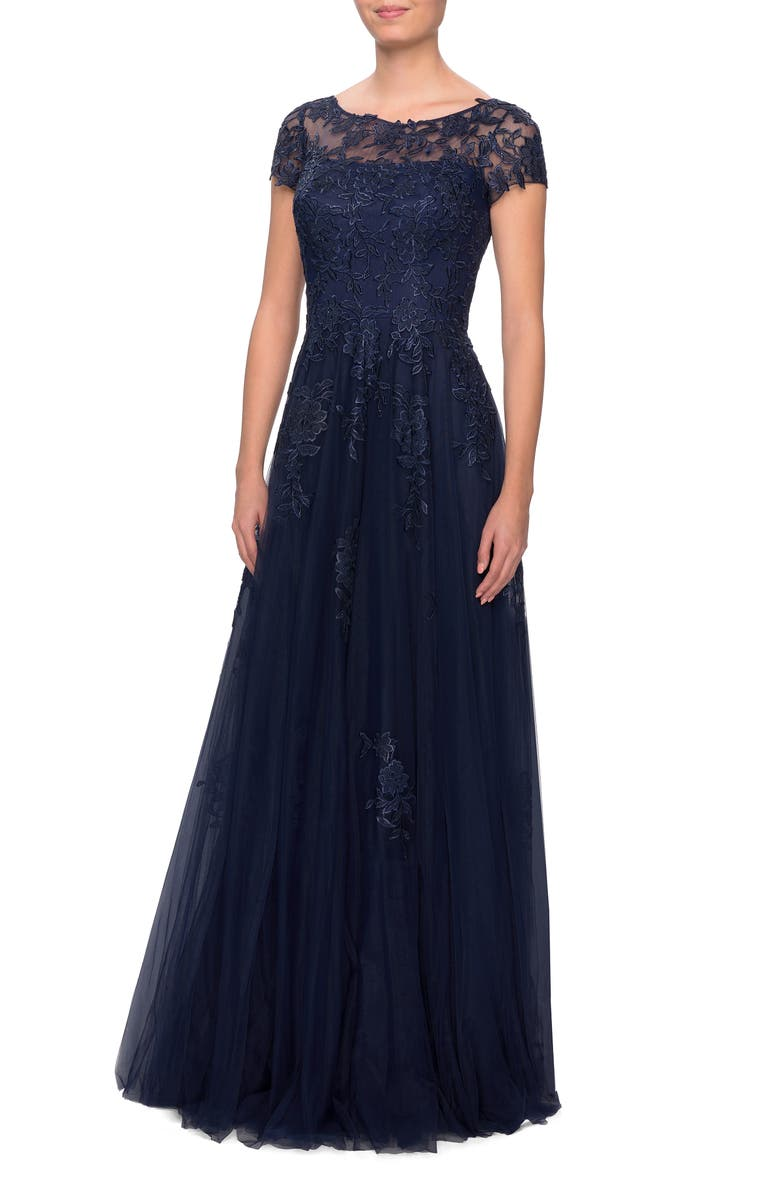 LA FEMME Embroidered Lace Illusion Yoke A-Line Gown, Main, color, NAVY