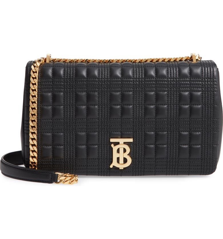 BURBERRY Medium Lola TB Quilted Lambskin Leather Shoulder Bag, Main, color, 001