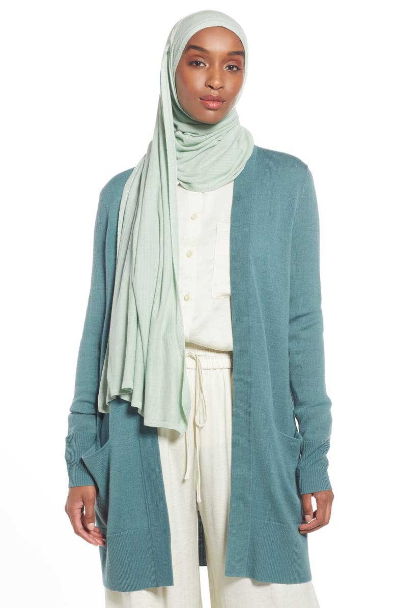 NORDSTROM Henna & Hijabs Textured Jersey Hijab, Main, color, GREEN GHOST