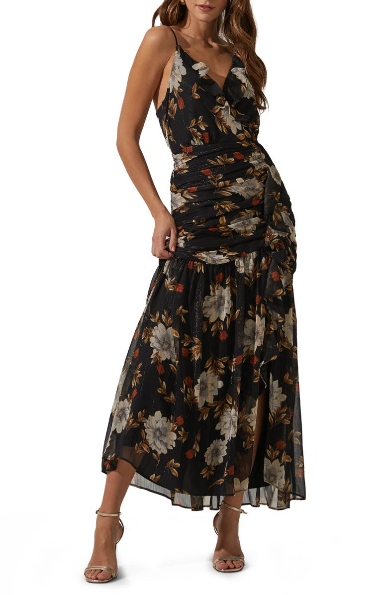 ASTR THE LABEL Sleeveless Ruched Ruffle Maxi Dress, Main, color, 001