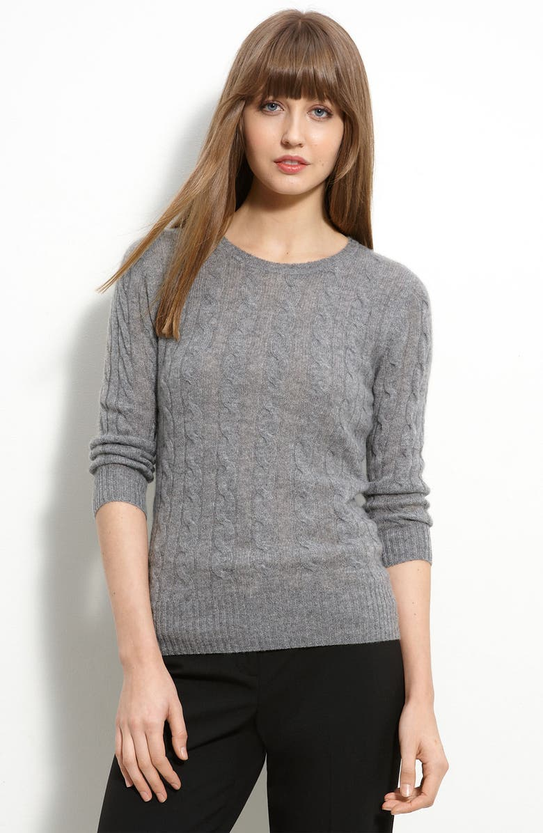 ONLY MINE Cable Knit Cashmere Sweater, Main, color, 030