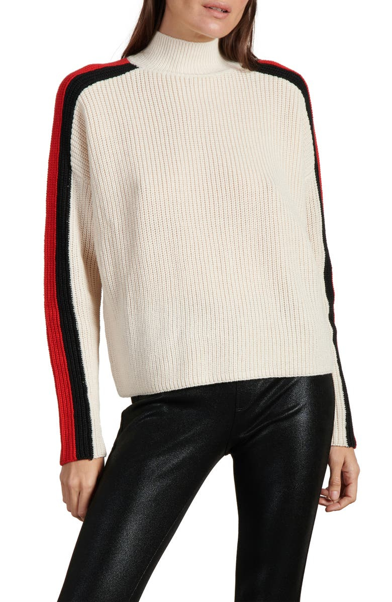 SANCTUARY Speedway Mock Neck Sweater, Main, color, SOY MILK