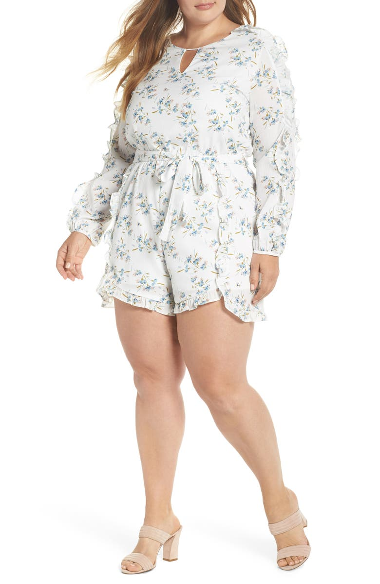 GLAMOROUS Floral Ruffle Romper, Main, color, 161