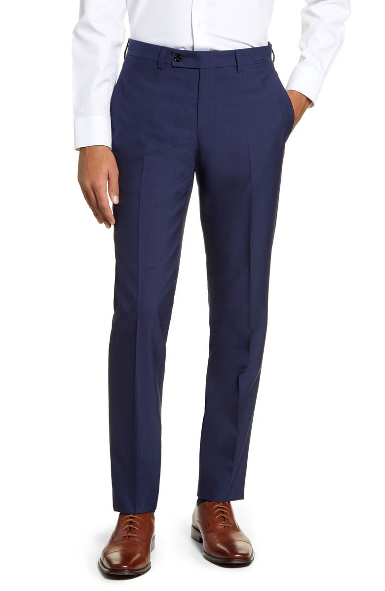TED BAKER LONDON Jefferson Flat Front Solid Wool Trousers, Main, color, 400