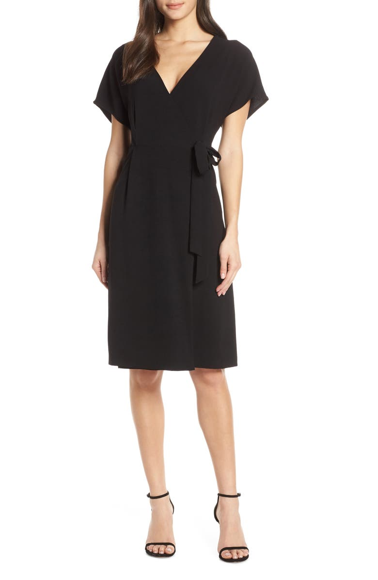 CHARLES HENRY Wrap Dress, Main, color, 001