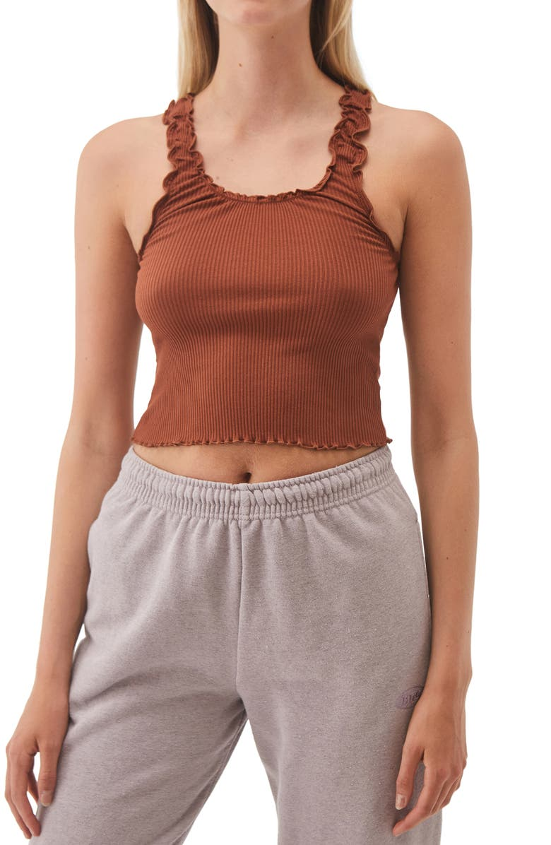 BDG URBAN OUTFITTERS Lettuce Edge Ribbed Camisole, Main, color, 200