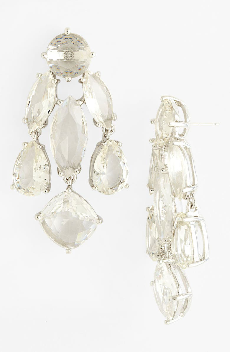 KATE SPADE NEW YORK statement chandelier earrings, Main, color, CLEAR/ SILVER