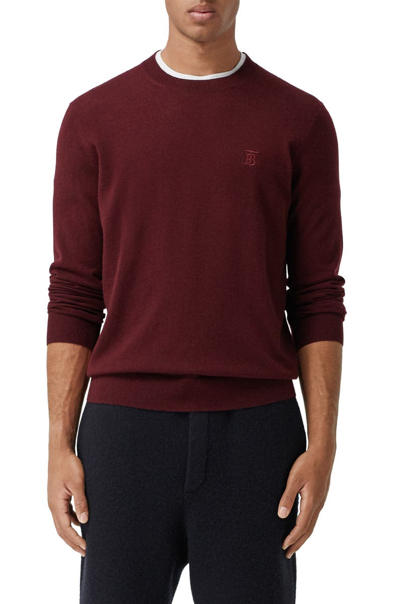 BURBERRY Bancroft TB Monogram Embroidered Cashmere Sweater, Main, color, DEEP MERLOT
