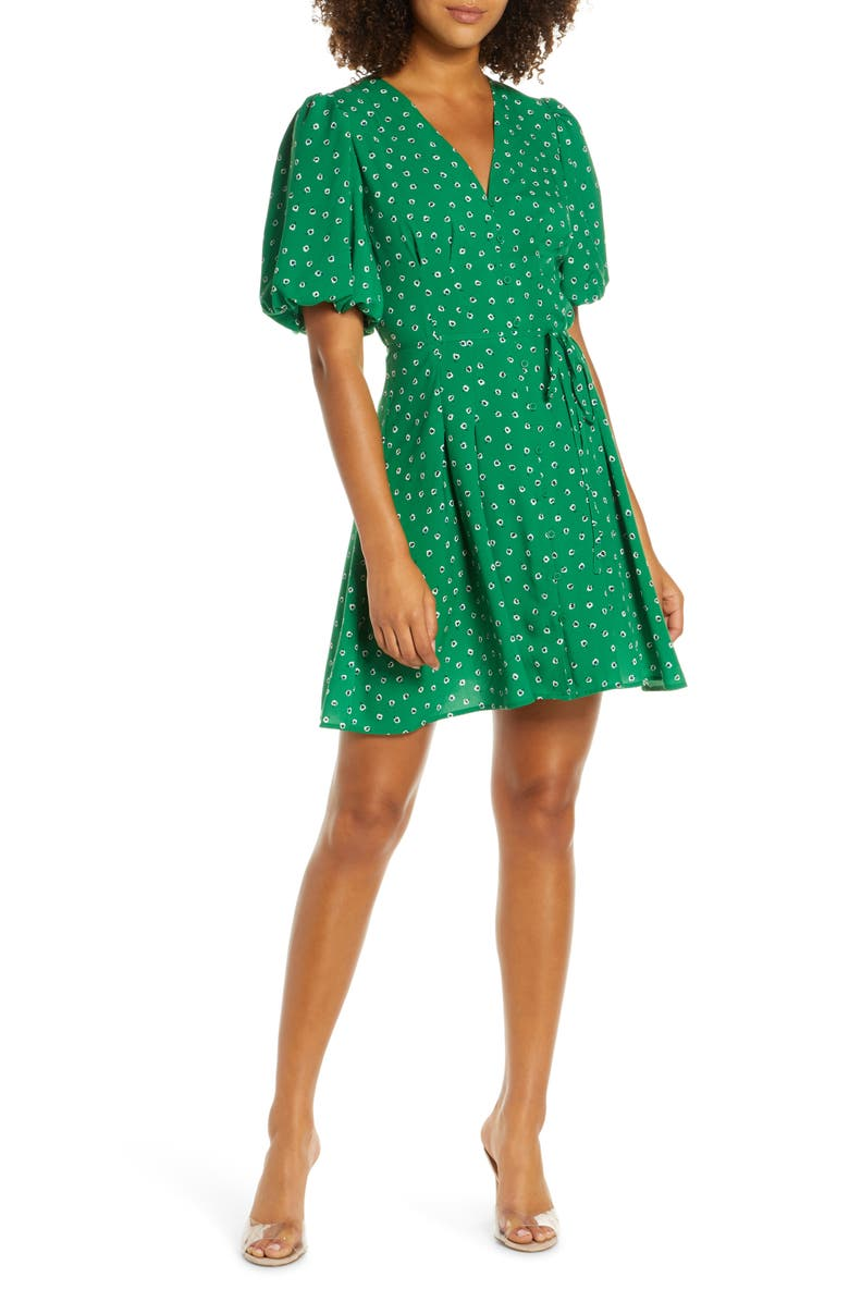 FRENCH CONNECTION Adelise Puff Sleeve Fit & Flare Minidress, Main, color, 311