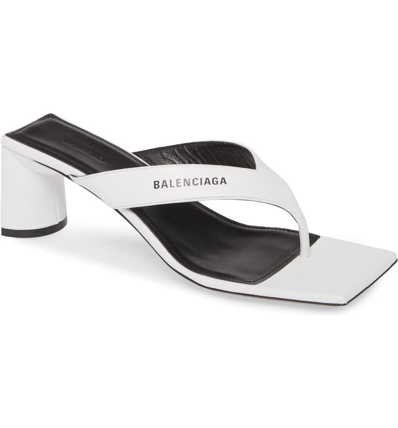 BALENCIAGA Double Square Logo Sandal, Main, color, SILVER/ BLACK