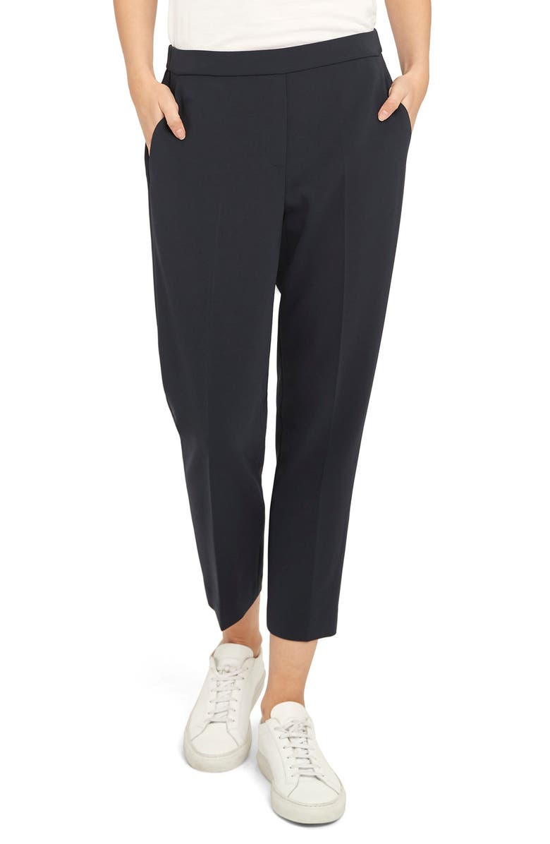THEORY Treeca Pull-On Trousers, Main, color, BLACK