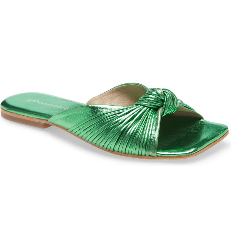 JEFFREY CAMPBELL Knaughty Slide Sandal, Main, color, GREEN METALLIC LEATHER