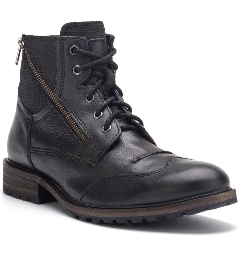 VINTAGE FOUNDRY Harrison Wingtip Leather Boot, Main, color, BLACK