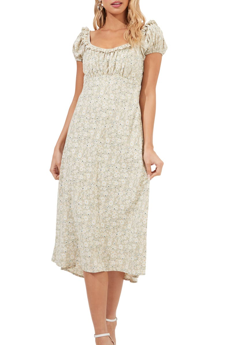ASTR THE LABEL Ditsy Floral Ruffle Neck Midi Dress, Main, color, SAGE DAISY FLORAL