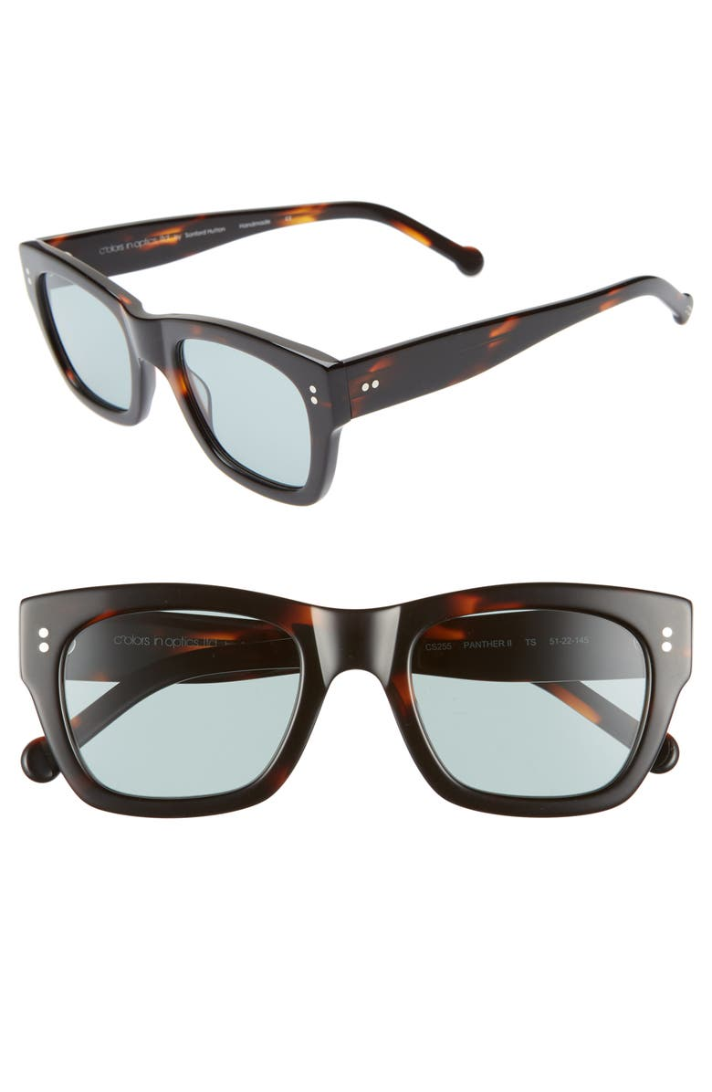 COLORS IN OPTICS Panther 51mm Mirrored Rectangular Sunglasses, Main, color, 200
