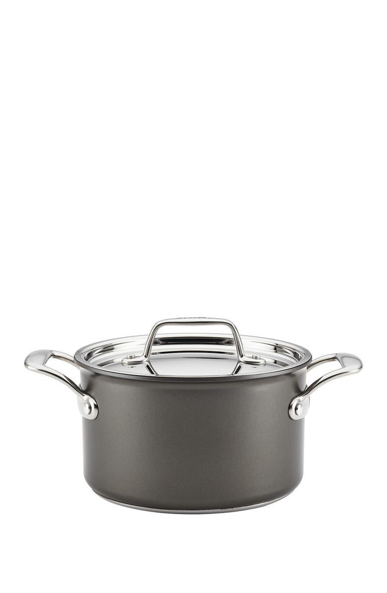 BREVILLE Thermo Pro Hard Anodized 4 Quart Covered Saucepot, Main, color, HARD ANODIZED ALUMINUM