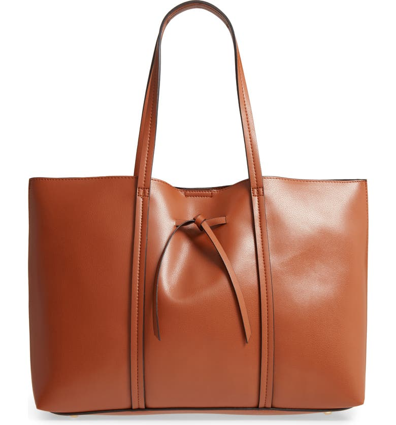 SOLE SOCIETY Oversize City Faux Leather Tote, Main, color, COGNAC