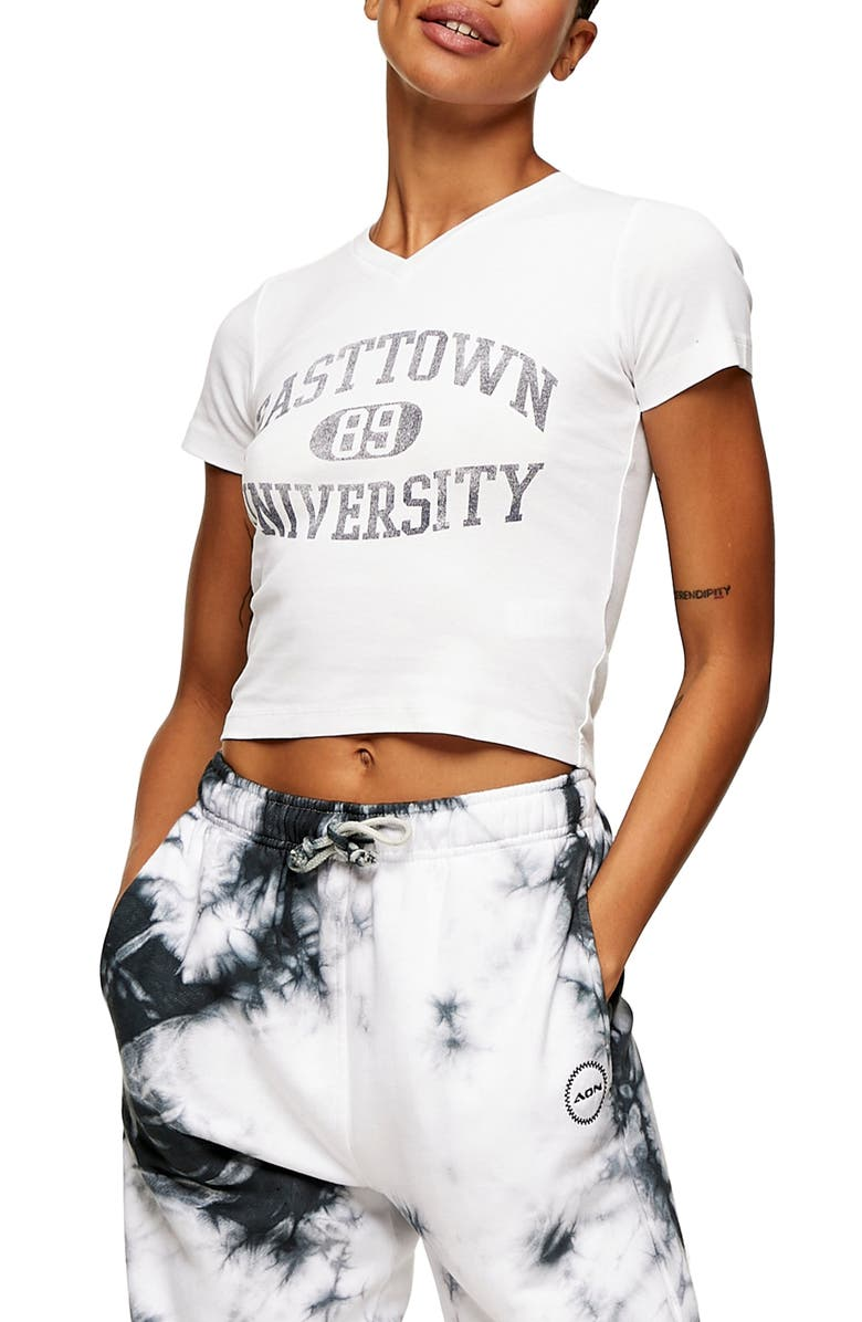 TOPSHOP Easttown University Graphic Tee, Main, color, WHITE MULTI