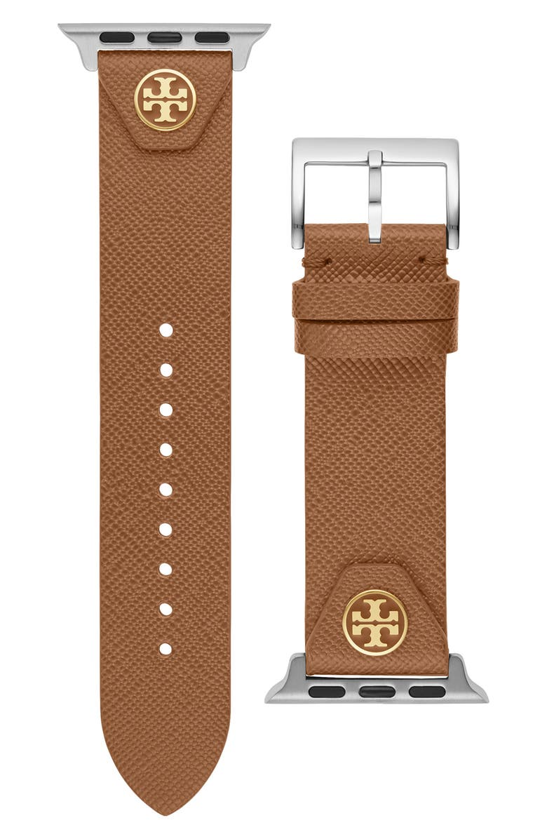 TORY BURCH The Studs Leather Apple Watch<sup>®</sup> Strap, Main, color, LUGGUAGE