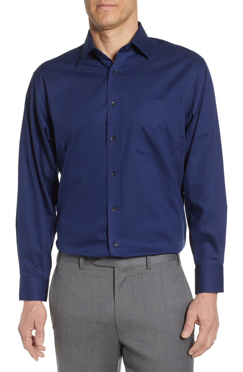 NORDSTROM Classic Fit Non-Iron Solid Dress Shirt, Main, color, NAVY MEDIEVAL