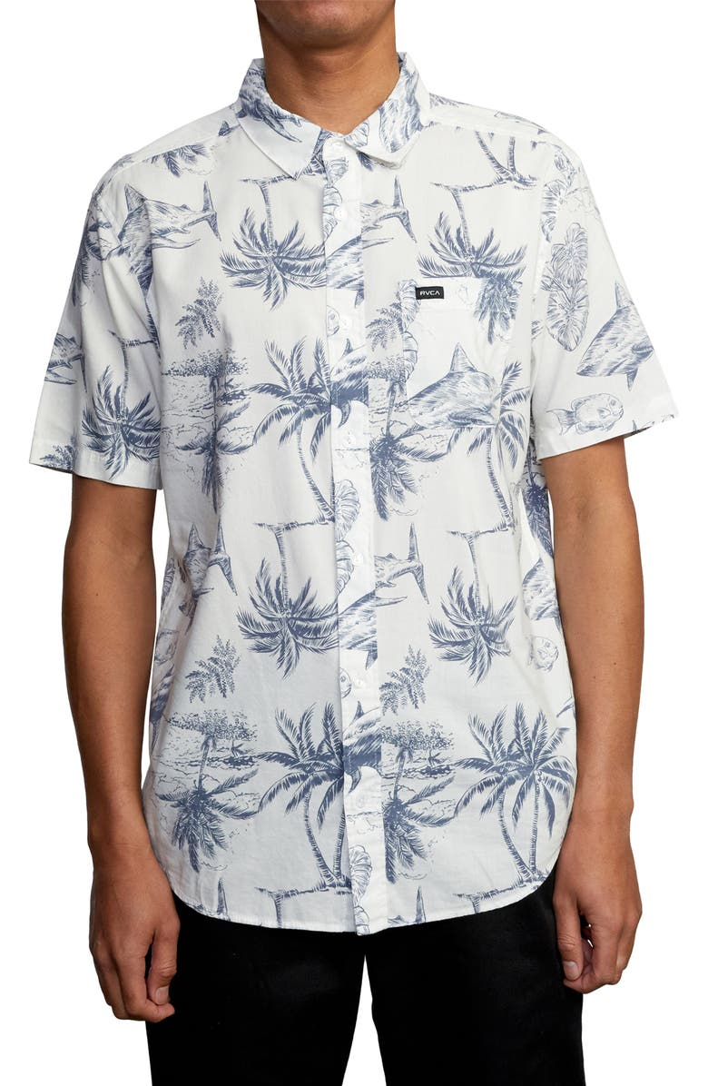 RVCA Panic Point Tropical Short Sleeve Button-Up Shirt, Main, color, 900