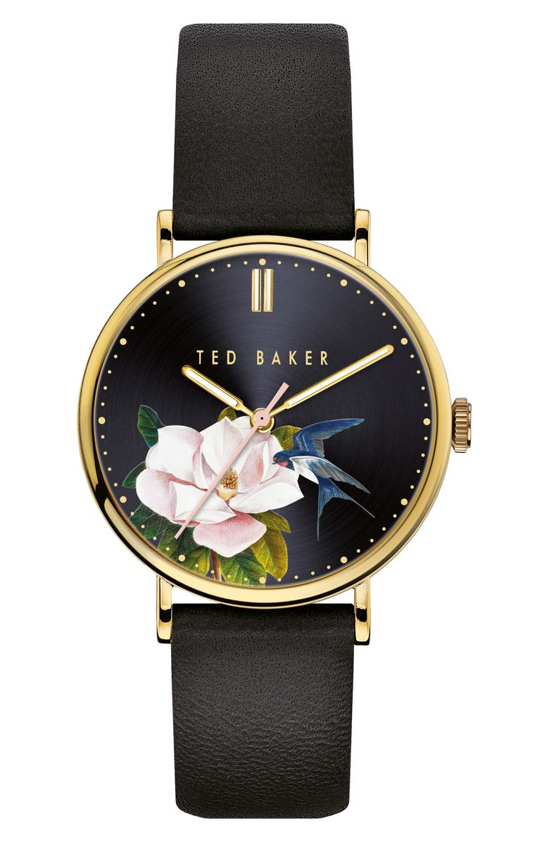 TED BAKER LONDON Phylipa Flowers Leather Strap Watch, 37mm, Main, color, BLACK/ GOLD