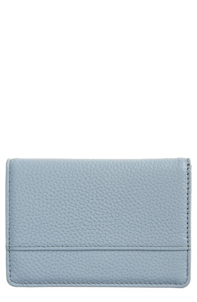 NORDSTROM Ruby Pebbled Leather Cardholder, Main, color, BLUE AIR