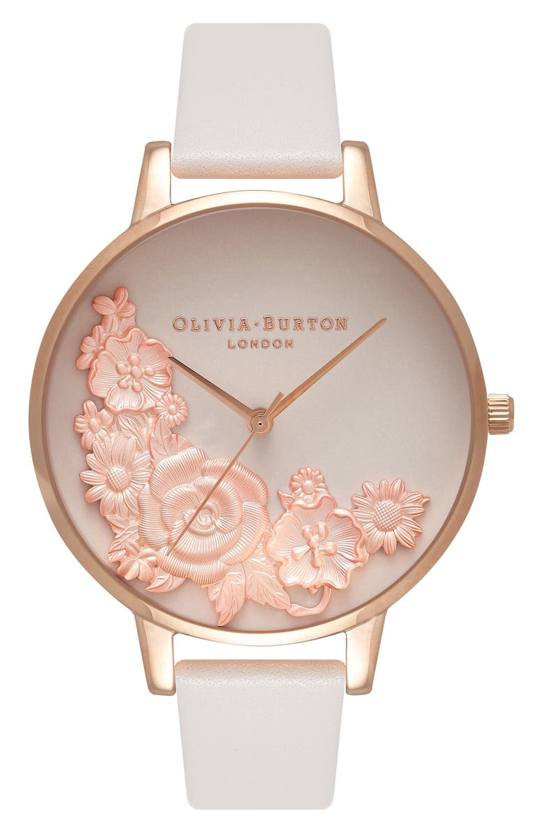 OLIVIA BURTON Begin to Blush Leather Strap Watch, 38mm, Main, color, 650