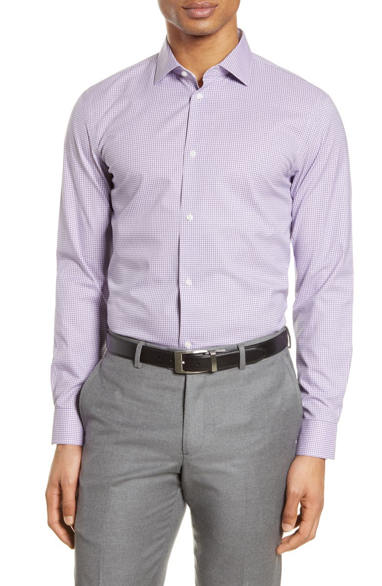 NORDSTROM Extra Trim Fit Non-Iron Check Dress Shirt, Main, color, 510