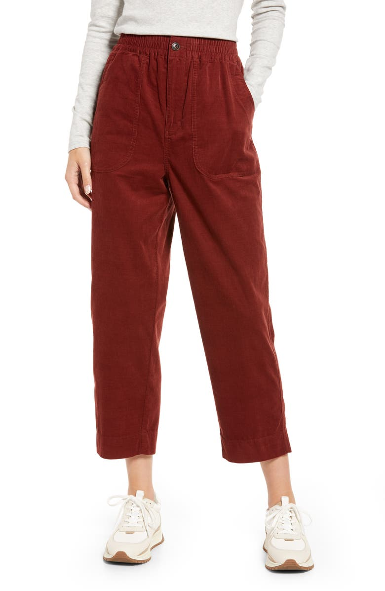 MADEWELL Huston Tapered Cotton Corduroy Pull-On Crop Pants, Main, color, RUSTED BURGUNDY