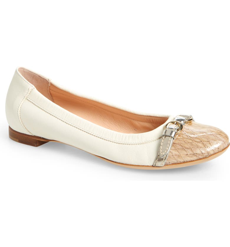 AGL Cap Toe Ballet Flat, Main, color, OFF WHITE LEATHER/ SNAKE