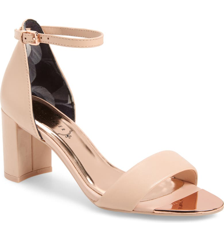 TED BAKER LONDON Shea Ankle Strap Sandal, Main, color, NUDE LEATHER