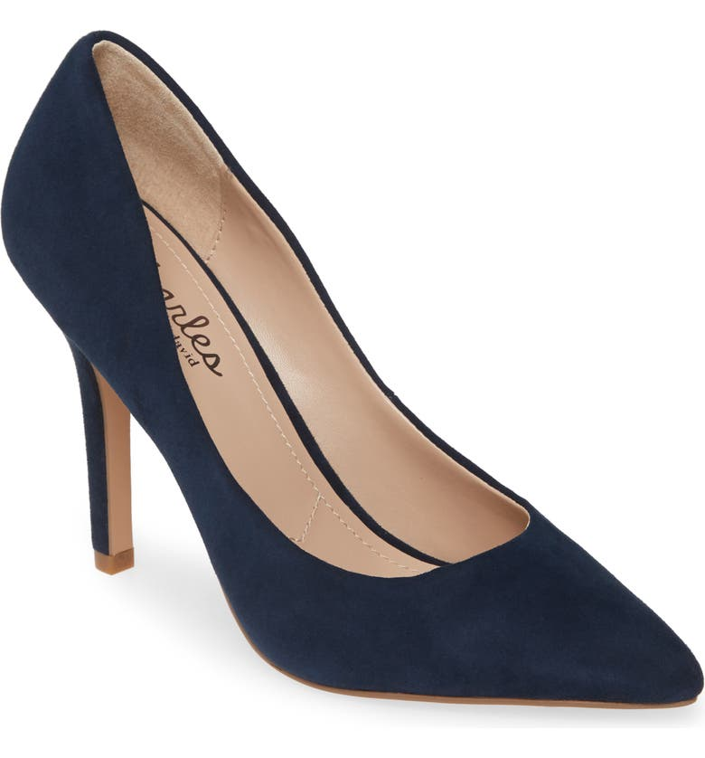 CHARLES BY CHARLES DAVID Maxx Pointed Toe Pump, Main, color, NAVY SUEDE