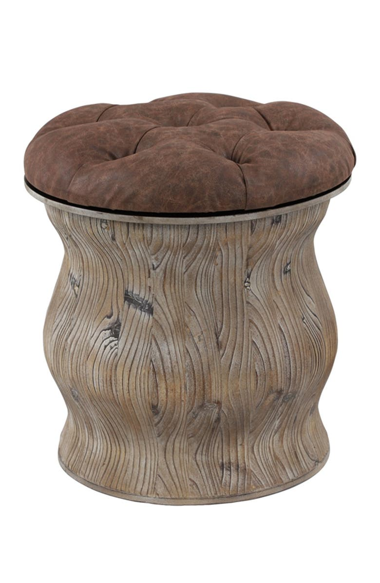 UMA Rustic Wood & Brown Faux Leather Round Ottoman with Storage, Main, color, BROWN