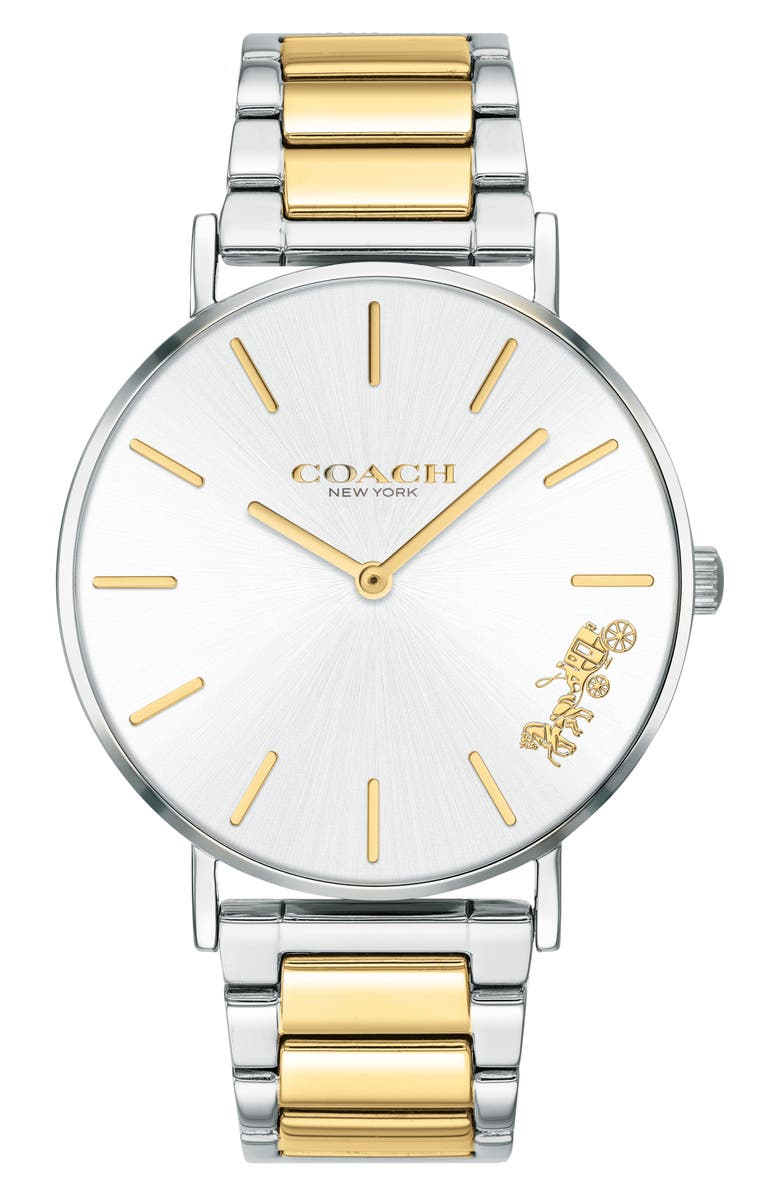 COACH 36MM PERRY BRACELET WATCH, Main, color, SILVER/ WHITE