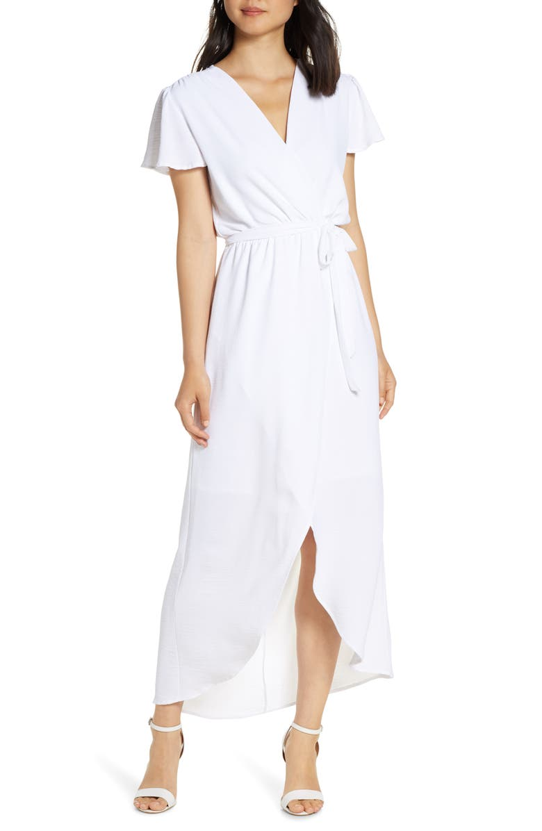 FRAICHE BY J High/Low Faux Wrap Dress, Main, color, WHITE
