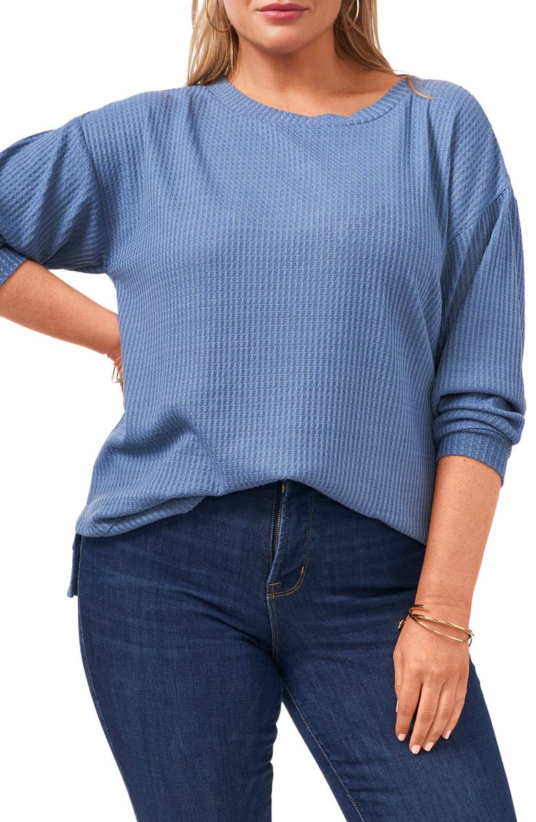 1.STATE Twist Back Waffle Knit Top, Main, color, BLUE DENIM HEATHER