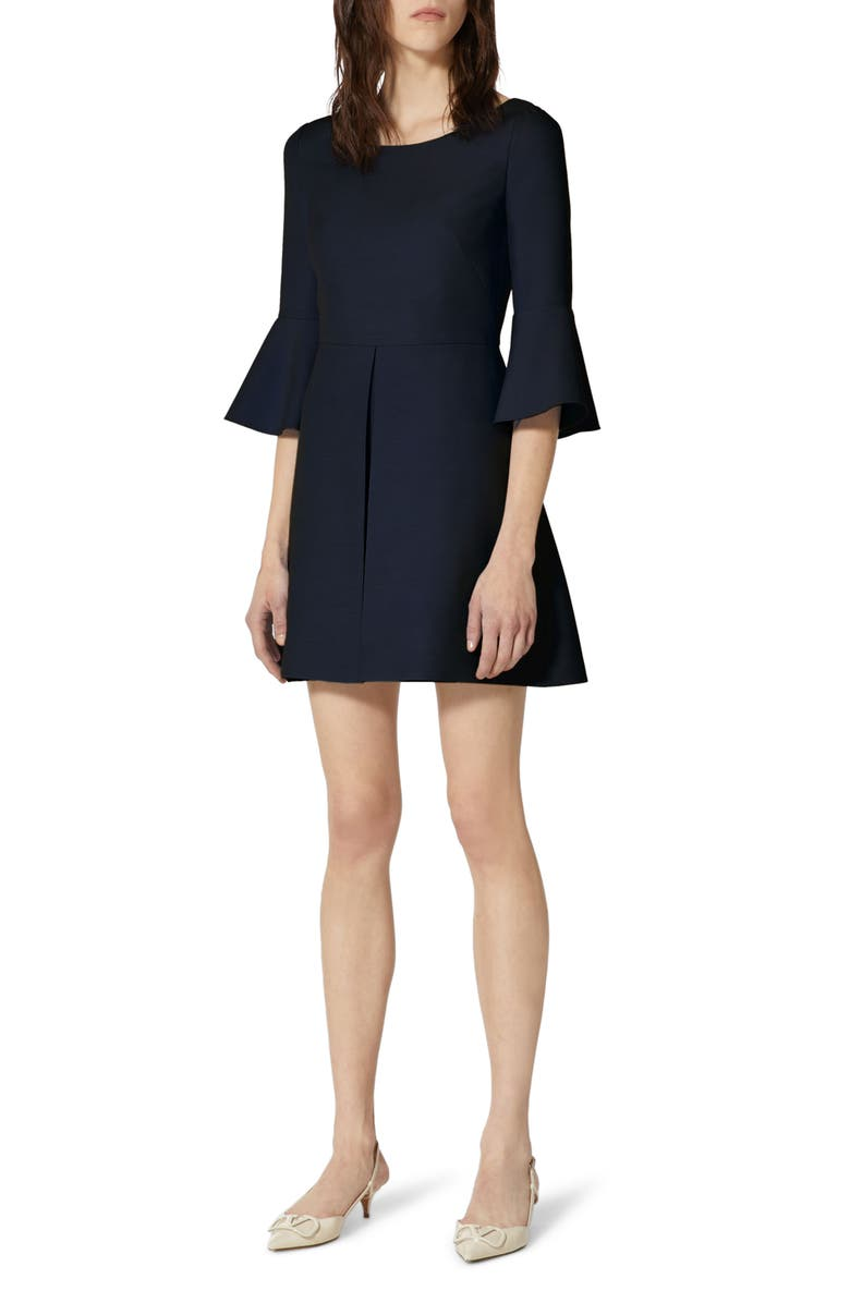 VALENTINO Trumpet Sleeve Virgin Wool & Silk Minidress, Main, color, NAVY