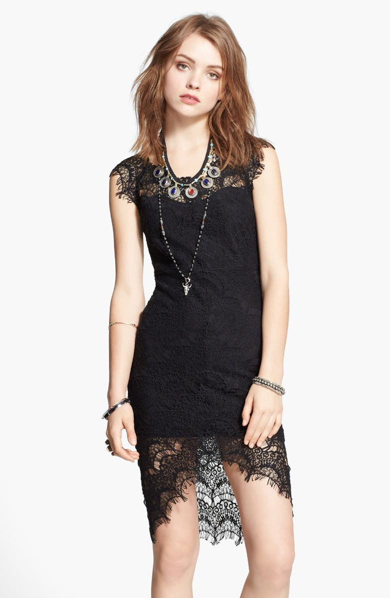 FREE PEOPLE Lace High/Low Sheath Dress, Main, color, Black